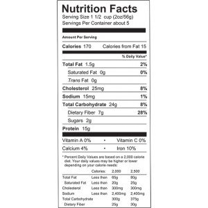 low carb nutrition info